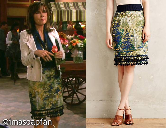 Kate Roberts's Pompom Trimmed Tapestry Pencil Skirt - Days of Our Lives, Season 51, Episode 08/26/16