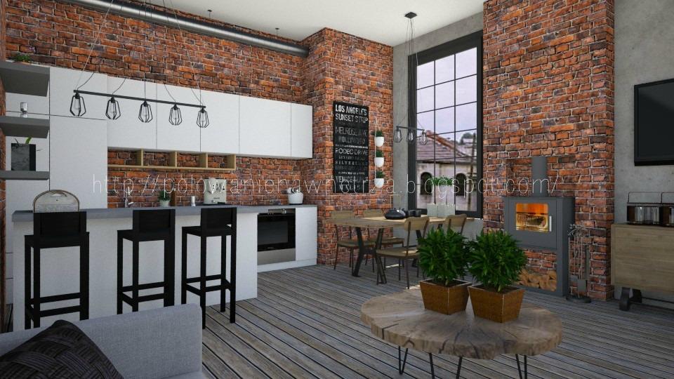 Polowanie Na Wnętrza Projekt Wizualizacja Salon Kuchnia