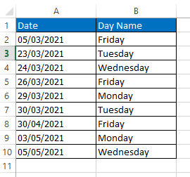 Macro returned the day name for each date