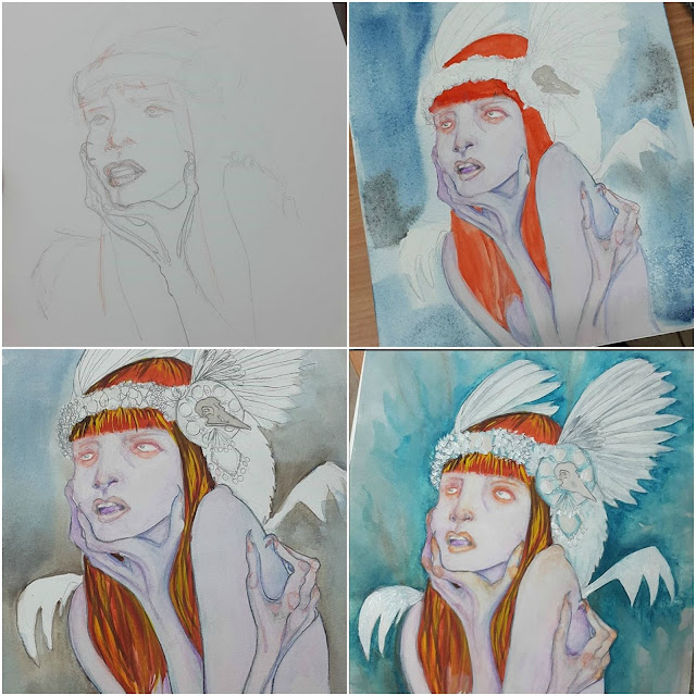 Whoopidooings Blog: Carmen Wing - Watercolour mixed media fantasy portrait - The Silver Crow Project - Progress images