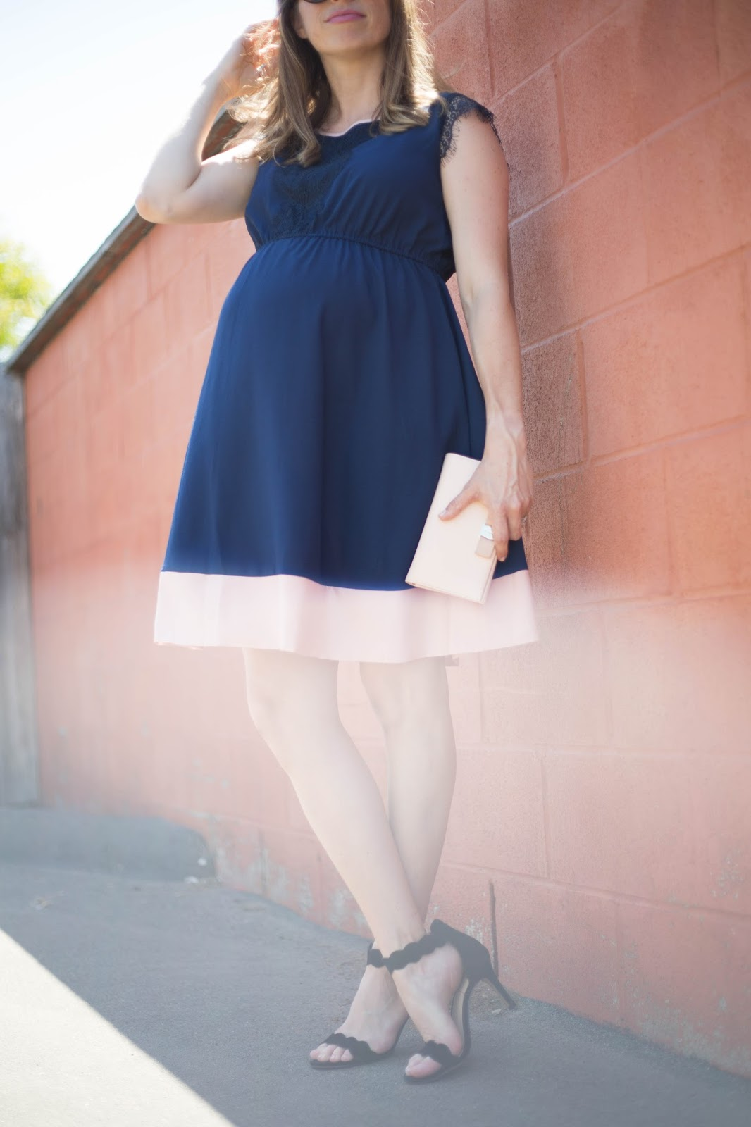 navy and blush dress