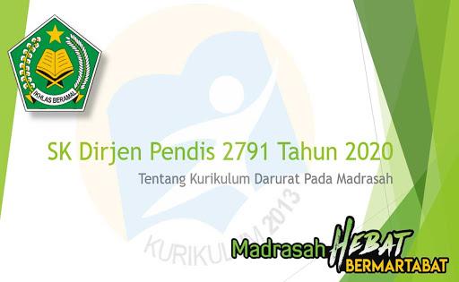 Kurikulum Darurat Madrasah SK Dirjen Pendis 2791 Tahun 2020