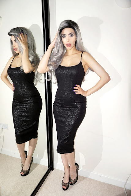 Femme Luxe Black Iridescent Gold Strappy Bodycon Midi Dress in model Vanessa
