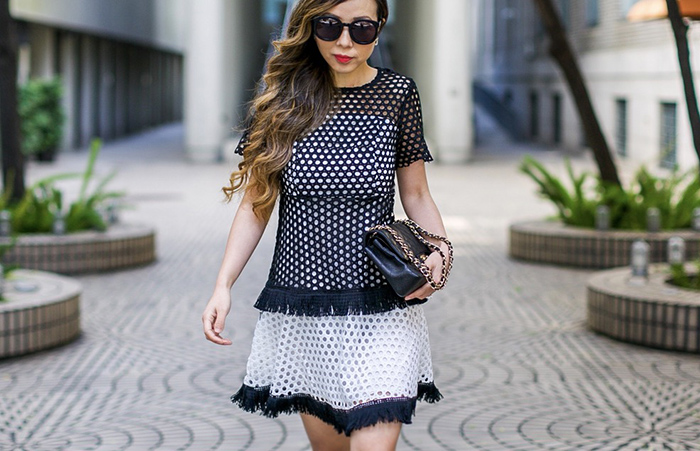 black and white eyelet dress, chicwish Eyelet Aspiration Crochet Dress in Black, aquazzura amazon pumps, lace up pumps, chanel classic flap bag, chanel earrings, date night outfit ideas, san francisco street style, san francisco fashion blog