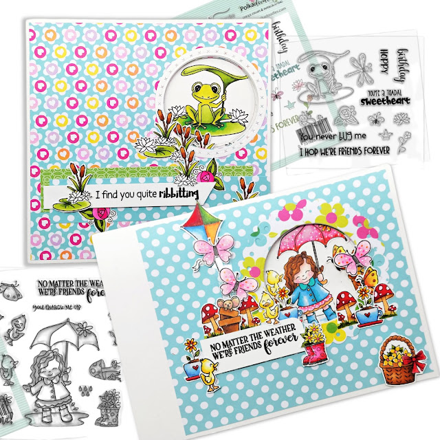 Polkadoodles Toadfully Cute & Sunshine Friends - slider cards by Lou Sims