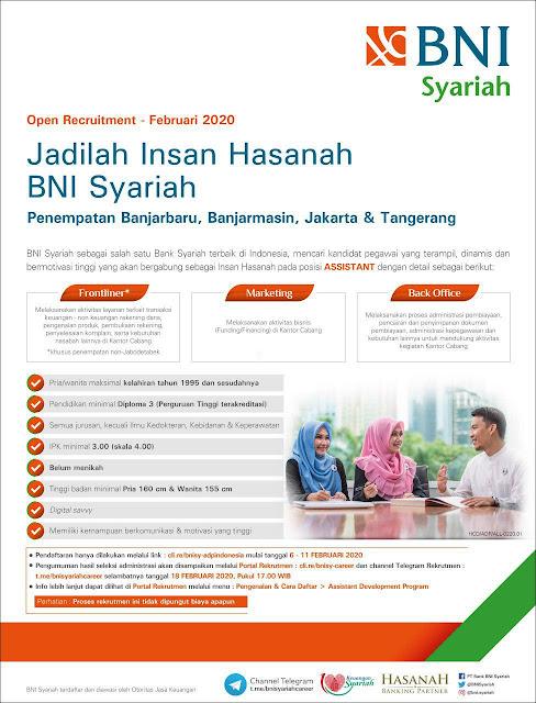 Lowongan Kerja BNI Syariah Februari 2020