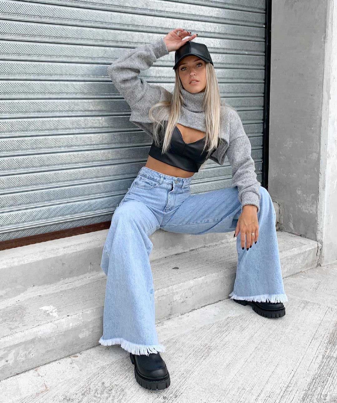 pantalones de jeans tiro alto oxford desflecado invierno 2021 moda invierno 2021