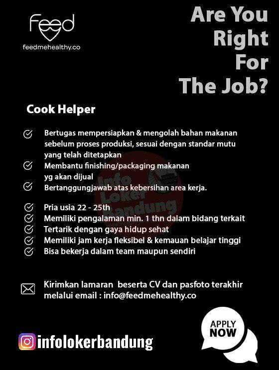 Lowongan Kerja Cook Helper Feemehealthy Bandung Agustus 2019
