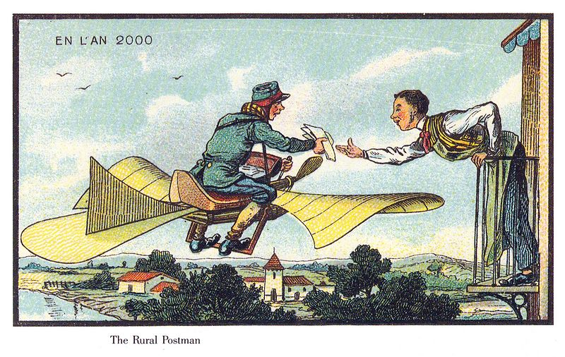 05-Air-Postman-Jean-Marc-Cote-En-L-An-2000-wikimedia-Futurism-with-Illustrated-Postcards-from-the-1900s-www-designstack-co