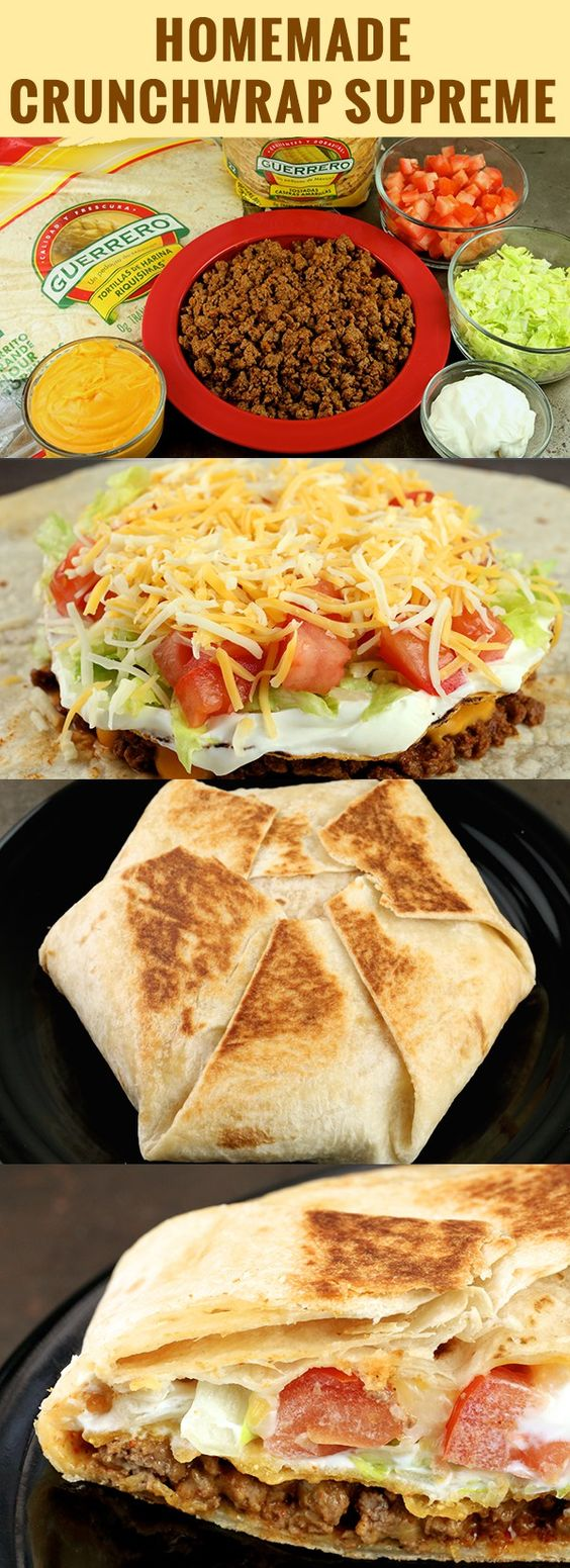 You can now make everyone's favorite Taco Bell item, the Crunchwrap Supreme, at home with this easy to follow recipe. Just like the fast food version, this homemade Crunchwrap Supreme is packed with all the toppings!