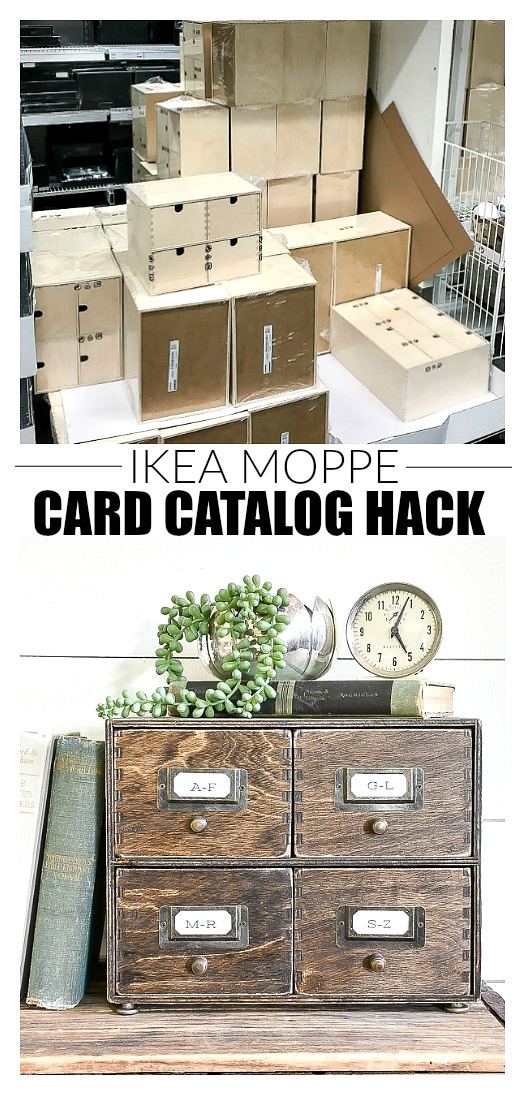 before and after of IKEA Moppe drawers turned card catalog