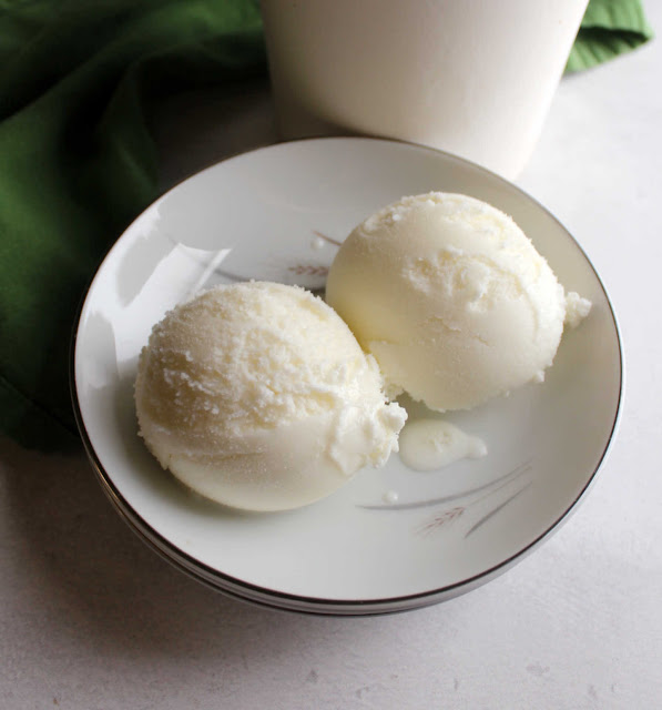 close up of two scoops of key lime sherbet in small bowl