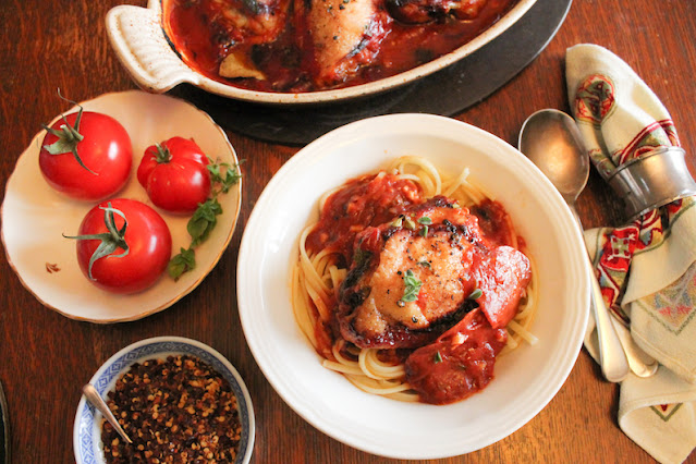Food Lust People Love: These saucy pepperoni roasted chicken thighs are a quick but delicious meal for a busy night. Serve them with large green salad or over pasta for a complete main course.