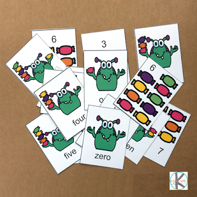 monster number words game for kids