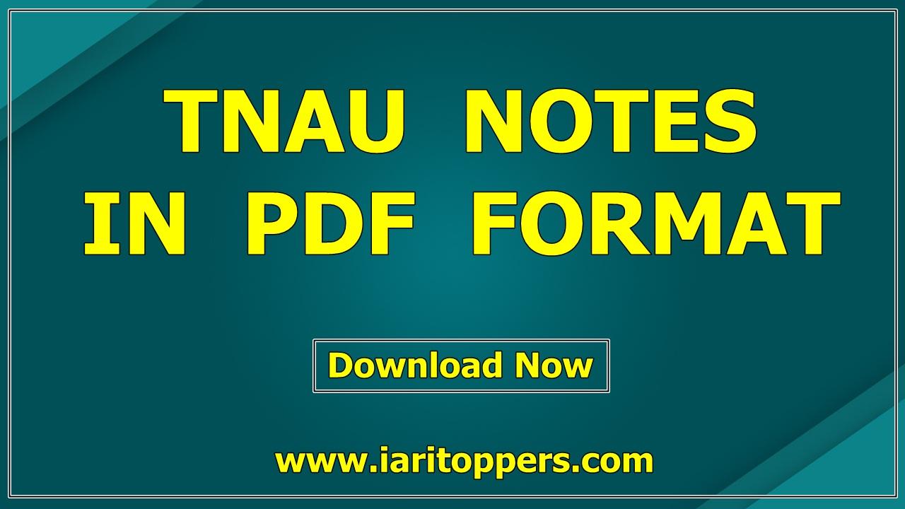 Tnau Notes PDF