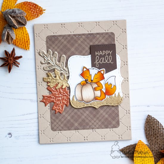 Newton's Nook Designs & WOW Embossing Powders Inspiration Week - Fall Fox card by Zsofia Molnar | Harvest Tails Stamp Set and Autumn Leaves Die Set by Newton's Nook Designs with embossing powder by WOW! #newtonsnook #wowembossing