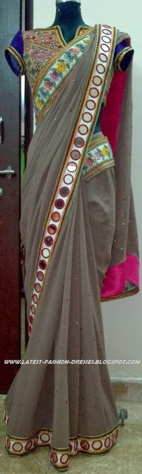 GRAY COLOUR MIRROR WORK BORDER SAREE