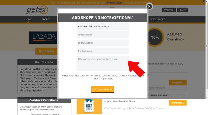 Membeli Belah Secara Online di Getex untuk tawaran Cashback