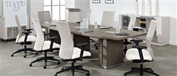 Gray Woodgrain Conference Table