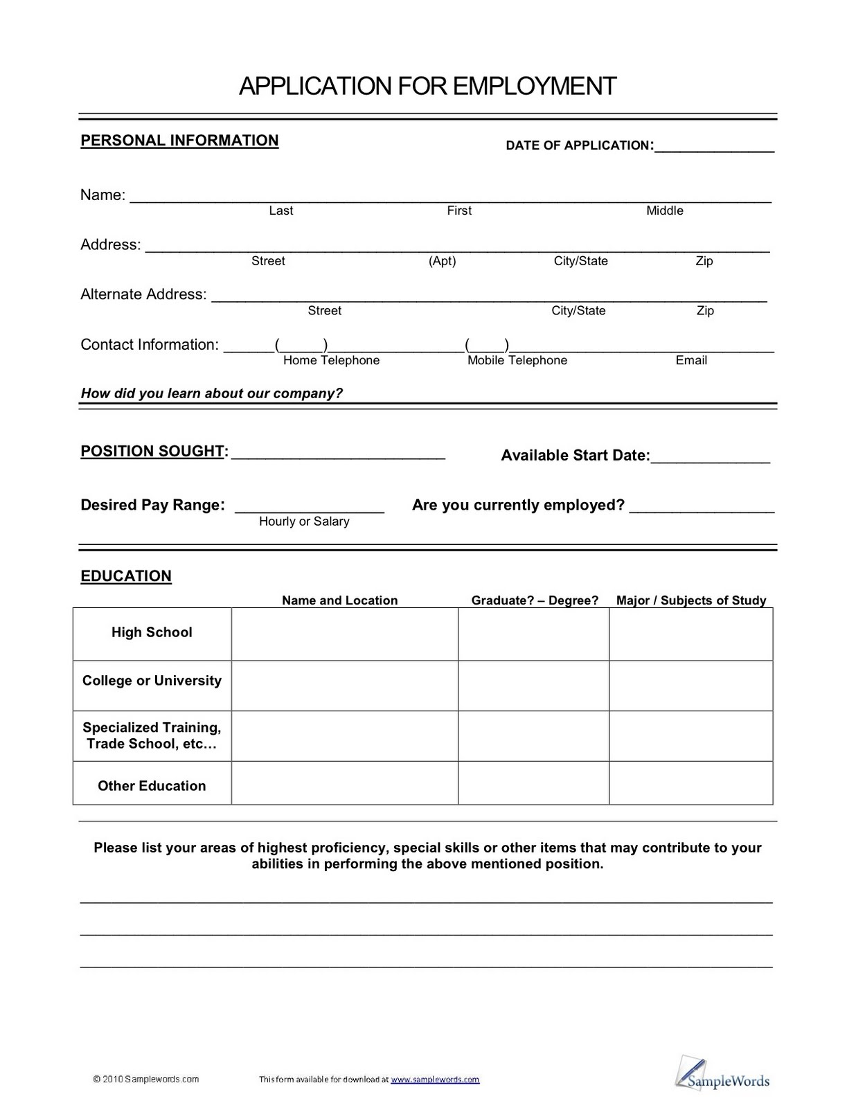Vons Job Application Form