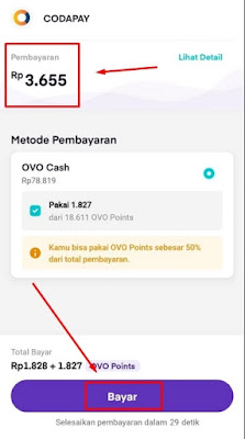 Rincian pembayaran aplikasi OVO