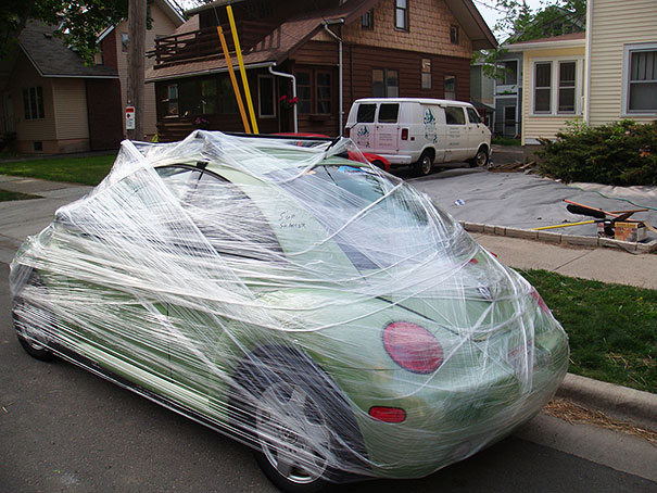Make sure their car is nice and safe with packing cling wrap