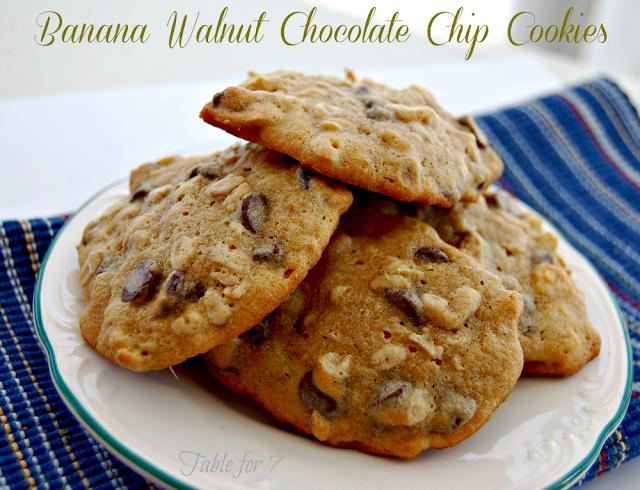 Banana Walnut Chocolate Chip Cookies