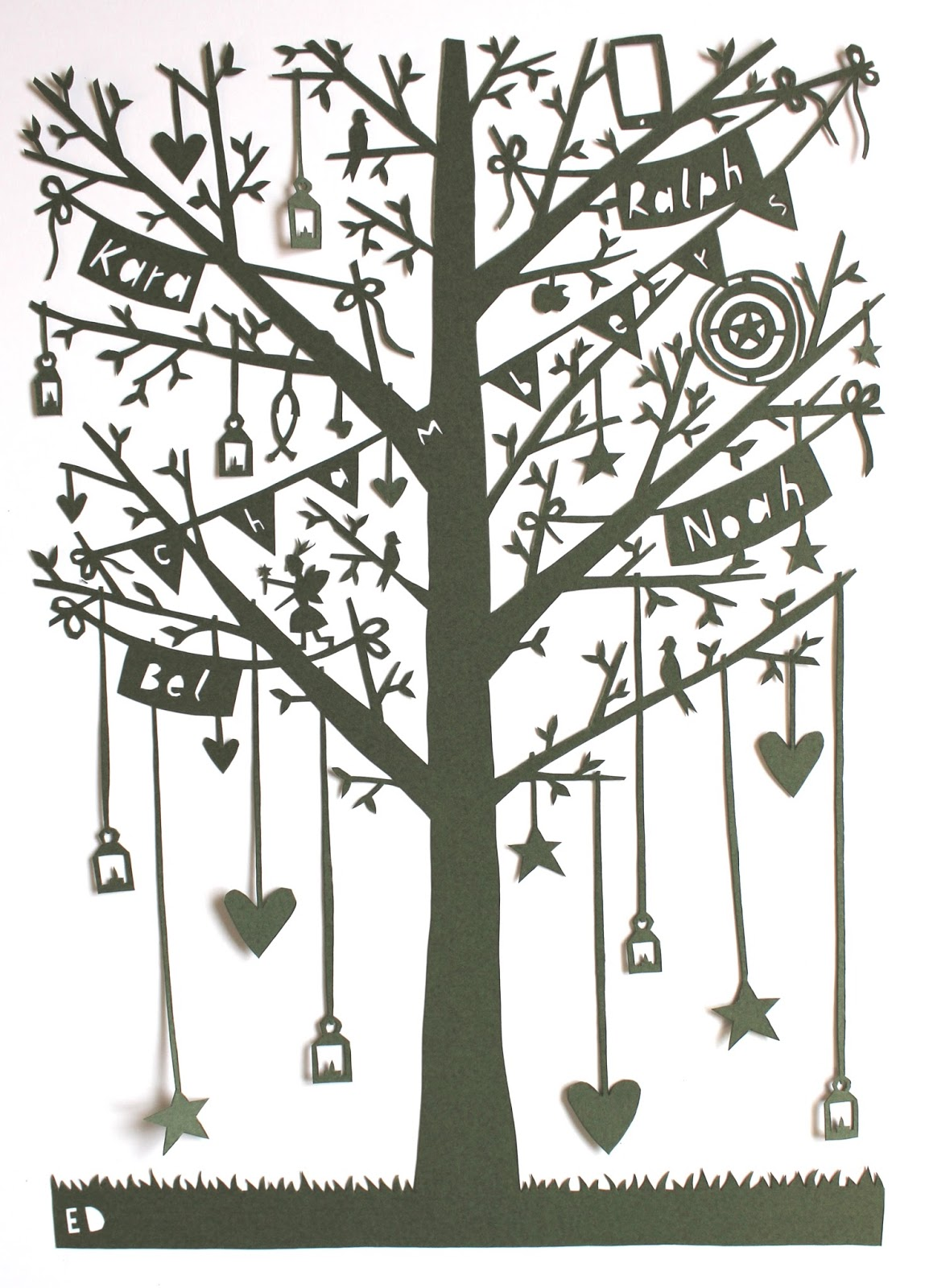 Made By Ed Whimsical Family Tree Paper Cut
