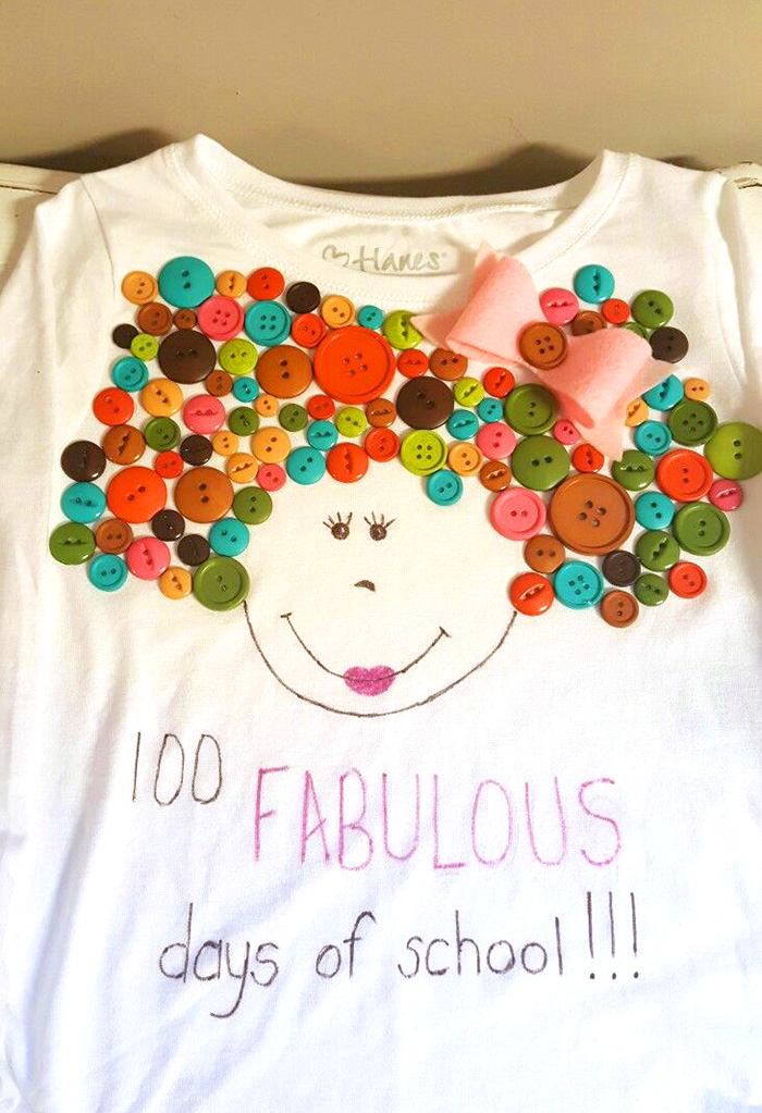 100 days of fabulous - bows and buttons 100 days of school shirt