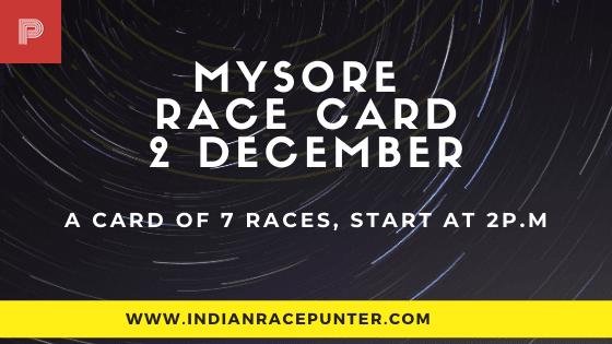 Mysore Race Card 2 December, Race Cards
