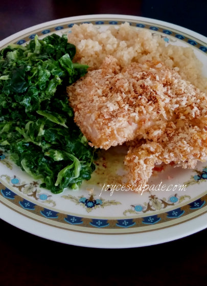 Honey-Crisp Baked Chicken with Creamed Spinach - Joy 'N' Escapade