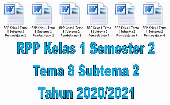 RPP Kelas 1 Semester 2 Tema 8 Subtema 2 Tahun 2020/2021 - Guru Krebet 3