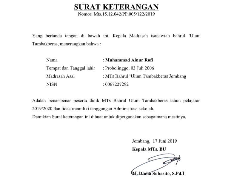 Contoh Surat Keterangan Tidak Memiliki Tanggungan Administrasi Sekolah SMP/MTs