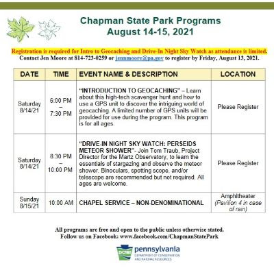 8-14/15 Chapman State Park Events