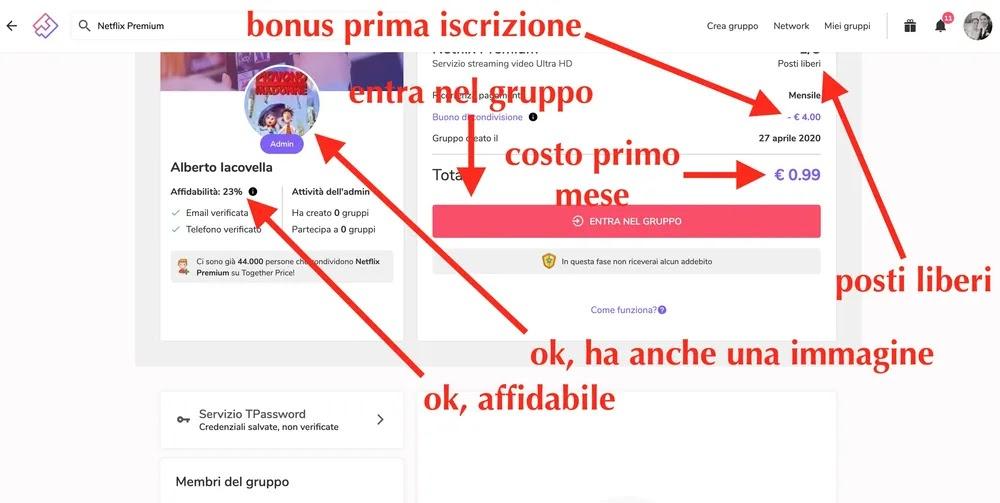schermata di un gruppo netflix premium condiviso su together price