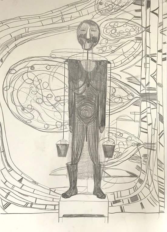Dirk Zoete Setting with figure and landscape, background 4 (hanging figure), 2019 pencil on paper 102 x 72 cm