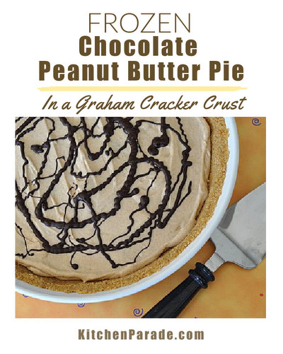 Frozen Chocolate Peanut Butter Pie ♥ KitchenParade.com, creamy-cold cream cheese and peanut butter filling, drizzled with chocolate, tucked into a graham cracker crust.