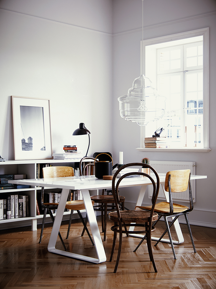 Scandinavian dining room, scandinavian home office, 3d visualisation by Gleb Kryukov