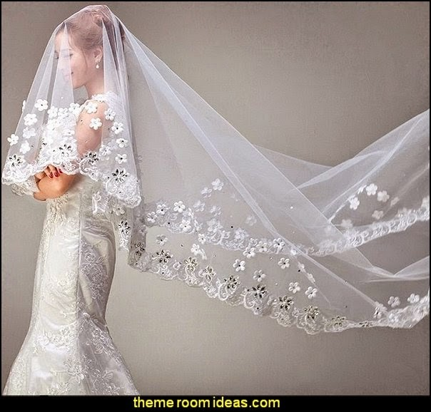 Bridal Wedding Veil Embellish Lace Edge & Rhinestone