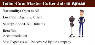 Master cutter cum Tailor Job Recruitment in Ajman, UAE