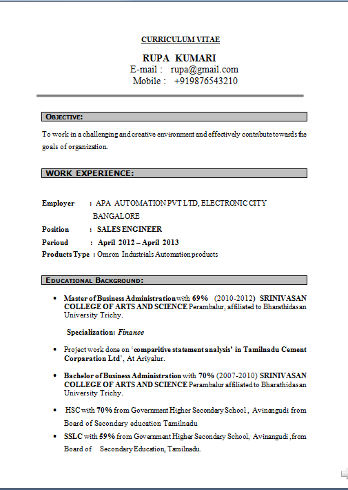 Sample Of Resume For Job Application