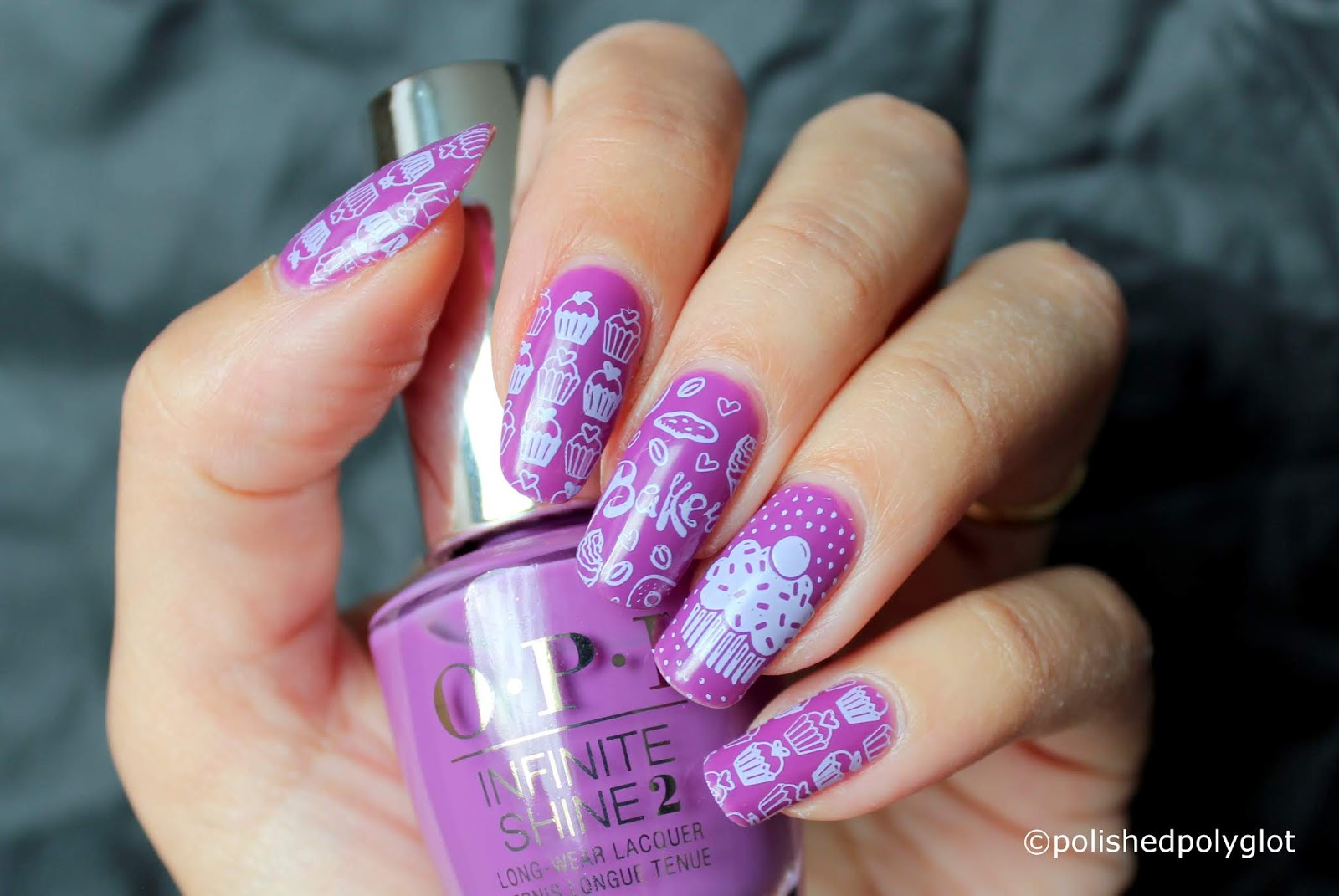 Nail Art Purple And Lilac Cupcakes Nail Design Polished Polyglot