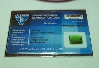 Batu Permata Green Tektite + Memo - ZP 407