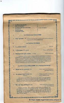 La Bourrée du Massif Central, programme 1938, Comte-Lagriffoul, Fleurs, Th. Reynes salaisons