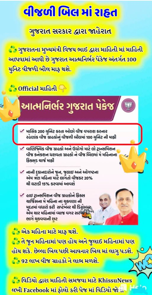 Gujarat Govt Big Announcement For Light Bill Relief