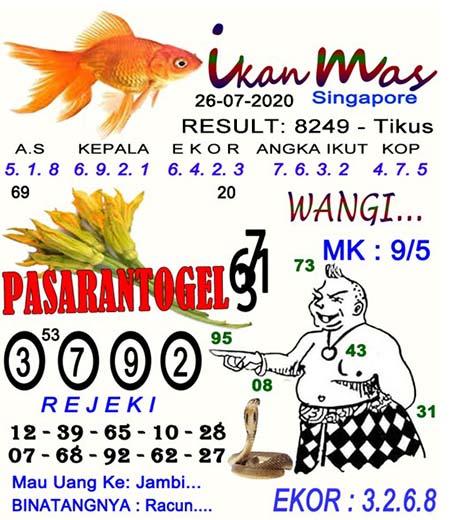 Syair Ikan Mas SGP Minggu 26 Juli 2020