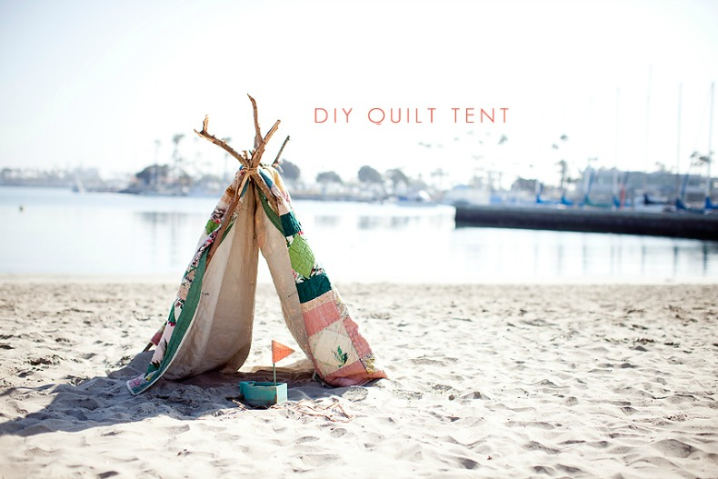 Coastal summer quilt beach tent & DIY: How to make a beach tent