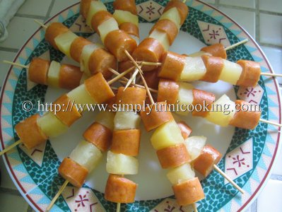 Pineapple and Sausage Skewers