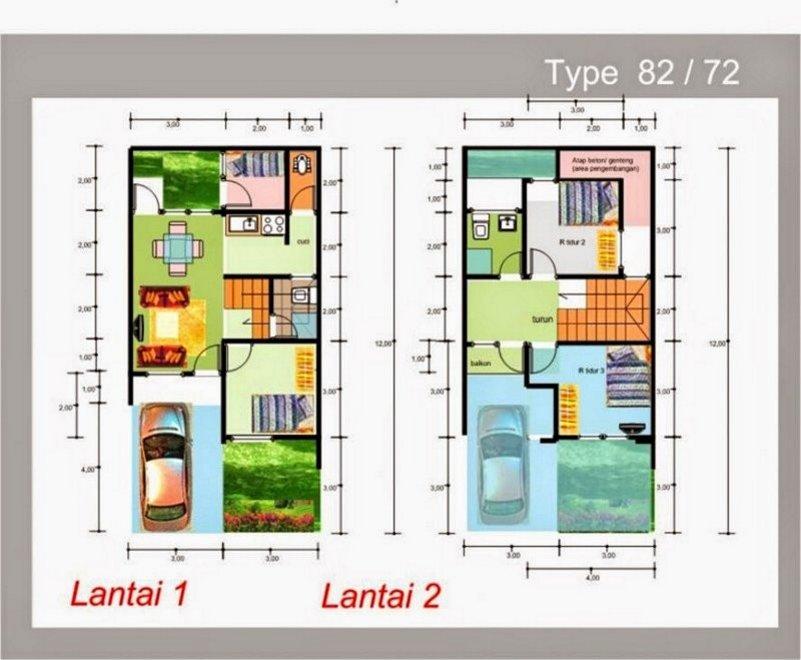 denah rumah 8x12 dua lantai 3 kamar tidur 4