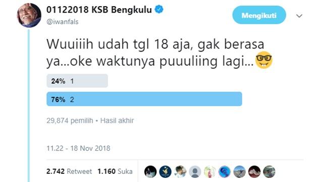 Gak Kapok! Iwan Fals Kembali Bikin Polling, Prabowo - Sandi Unggul Telak